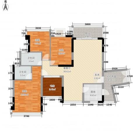 鼎峰品筑二期4室1厅2卫1厨104.00㎡户型图