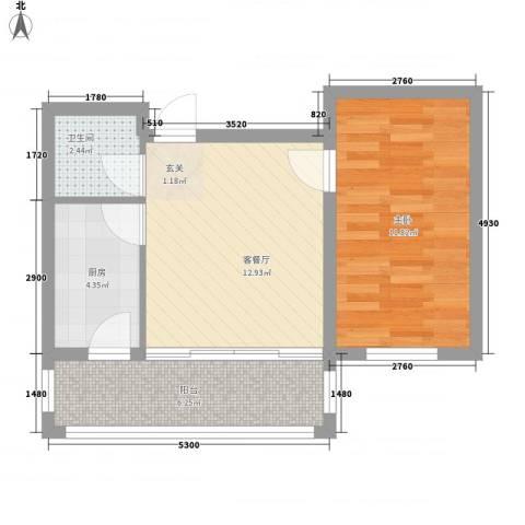 睿城臻品1室1厅1卫1厨37.79㎡户型图