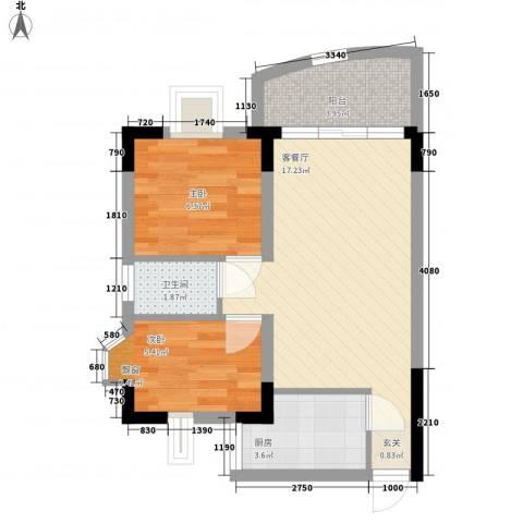 丽水湾2室1厅1卫1厨56.00㎡户型图