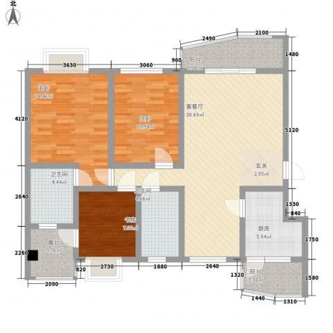 碧海乾图花园3室1厅2卫1厨122.00㎡户型图
