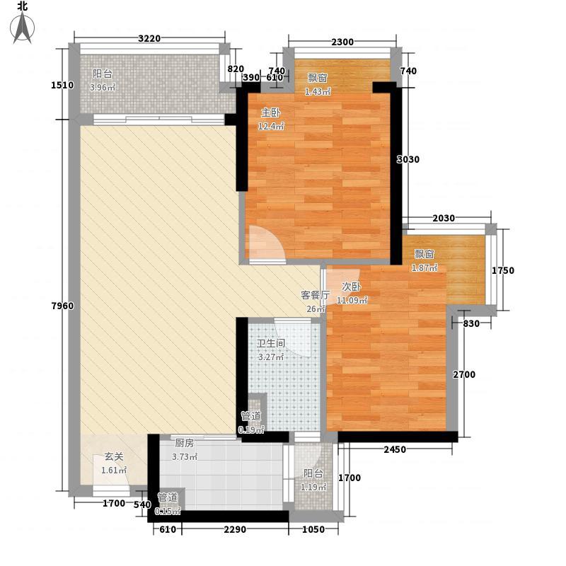 海伦堡・院子72.00㎡3栋02户型2室2厅1卫1厨