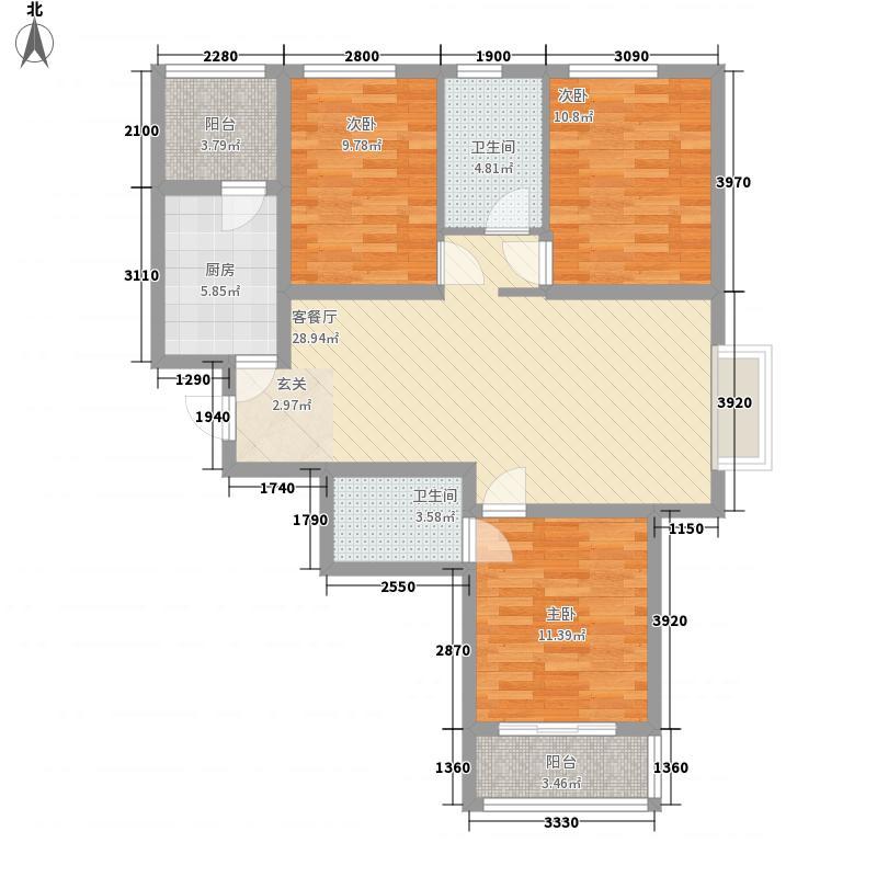 赛尚领寓118.87㎡A5户型3室2厅2卫