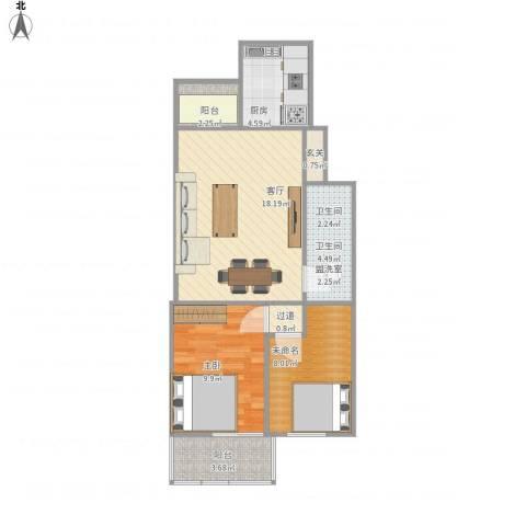 北苑家园紫绶园1室1厅1卫1厨72.00㎡户型图