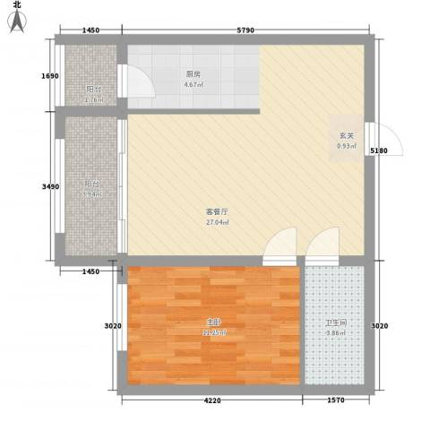 睿城臻品1室1厅1卫0厨47.84㎡户型图