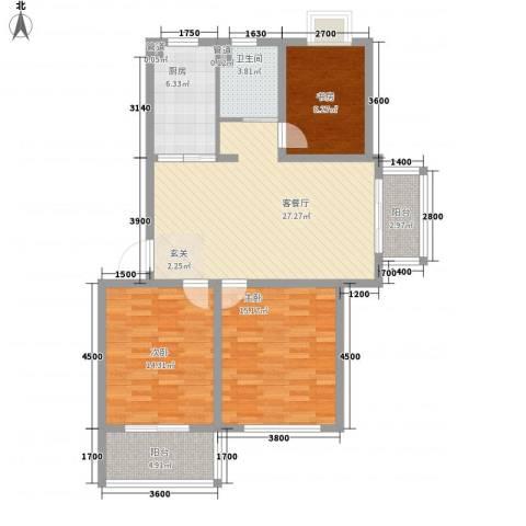 金色庭园3室1厅1卫1厨83.21㎡户型图