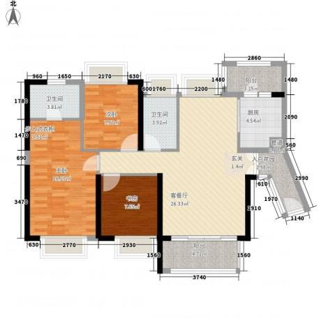 保利公园九里3室1厅2卫1厨119.00㎡户型图