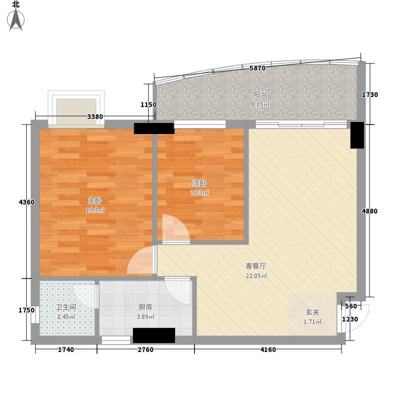 索丽苑81.25㎡第1梯01单位户型2室2厅1卫1厨