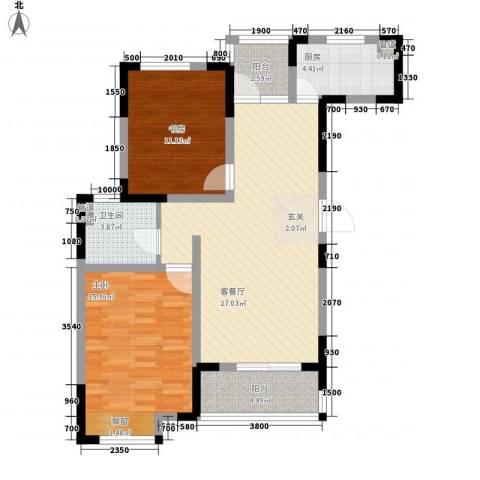 金色庭园2室1厅1卫1厨69.06㎡户型图
