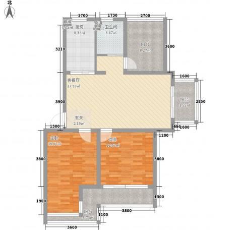 金色庭园2室1厅1卫1厨85.59㎡户型图