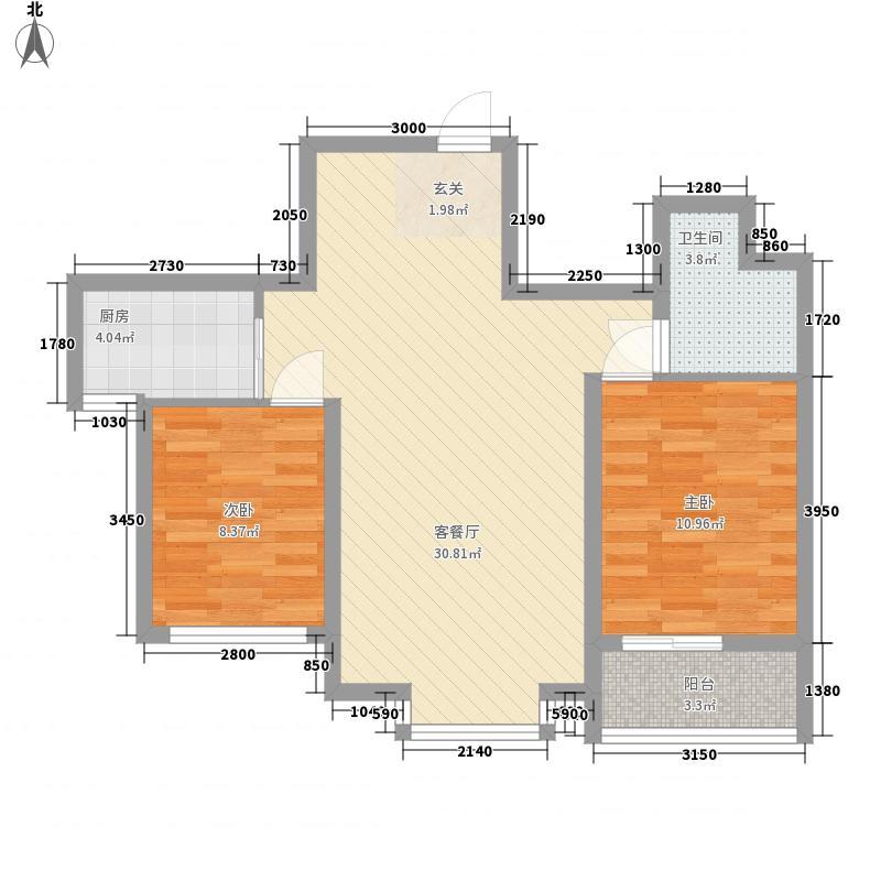 赛尚领寓88.71㎡B2户型2室2厅1卫