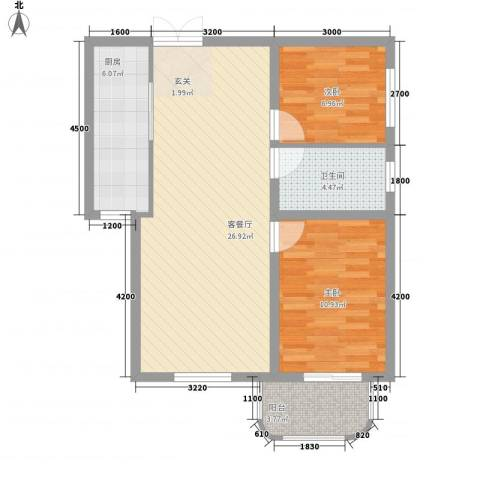 故宫新城2室1厅1卫1厨84.00㎡户型图