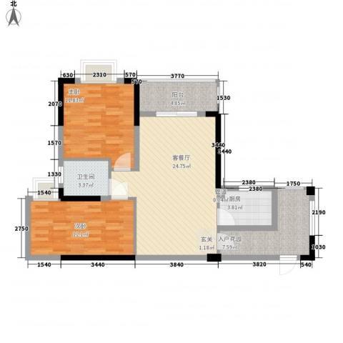 澳景湾2室1厅1卫1厨84.00㎡户型图