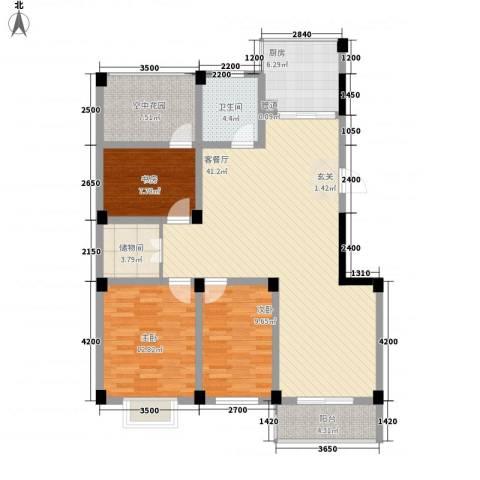嘉元玉兰庭3室1厅1卫1厨122.00㎡户型图