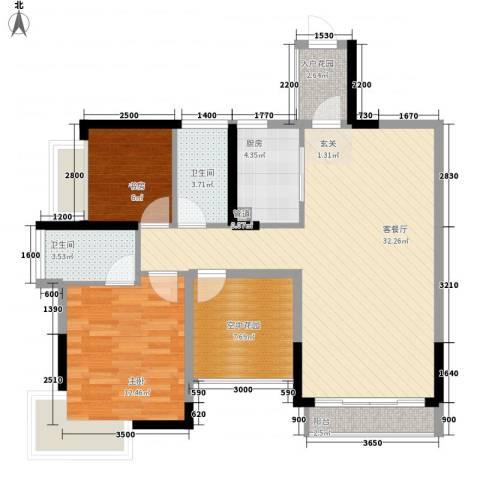 凯旋名门花园2室1厅2卫1厨75.23㎡户型图