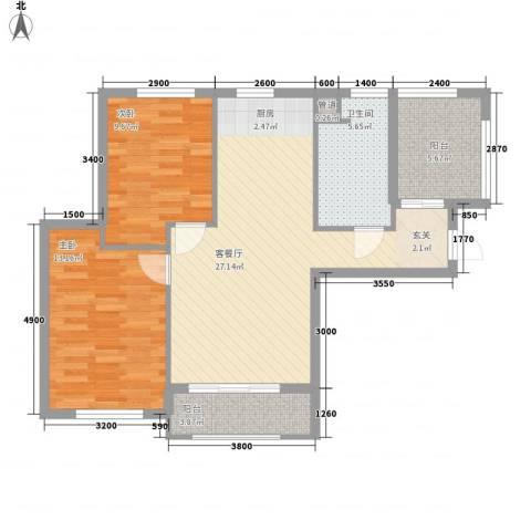 宇圣明珠2室1厅1卫0厨88.00㎡户型图