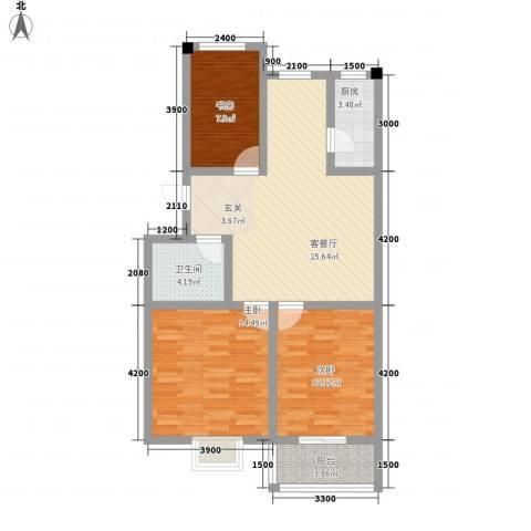 乐活城三期3室1厅1卫1厨104.00㎡户型图
