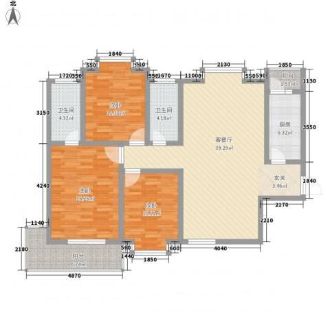 银苑花园3室1厅2卫1厨142.00㎡户型图