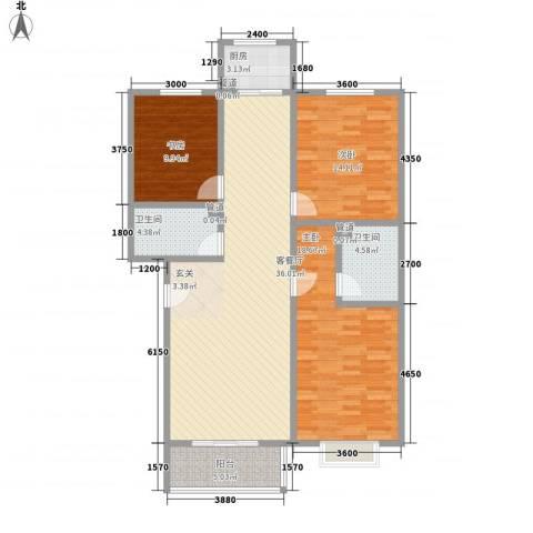 乐活城三期3室1厅2卫1厨135.00㎡户型图