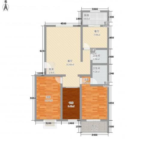乐活城三期3室2厅2卫1厨136.00㎡户型图