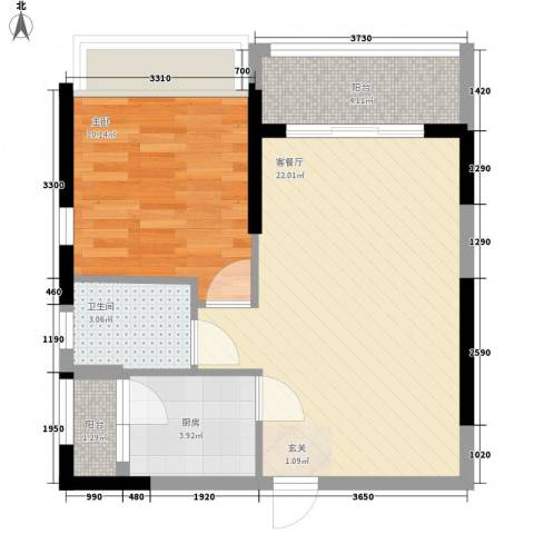 庄士8号1室1厅1卫1厨56.00㎡户型图