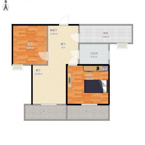理工帝湖湾2室1厅1卫1厨95.00㎡户型图