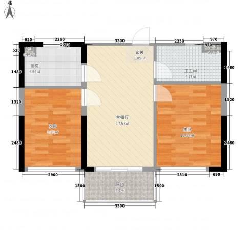 合景・月亮湾2室1厅1卫1厨72.00㎡户型图