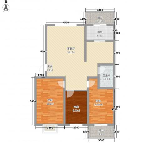 乐活城3室1厅1卫1厨131.00㎡户型图