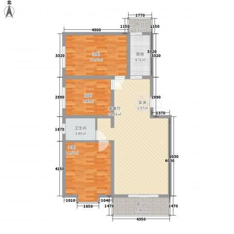 龙云家园3室1厅1卫1厨123.00㎡户型图