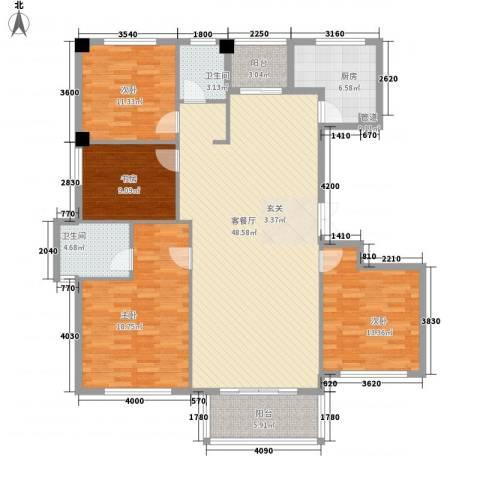 金港花园4室1厅2卫1厨173.00㎡户型图
