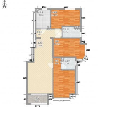鑫海花园3室1厅2卫1厨125.00㎡户型图