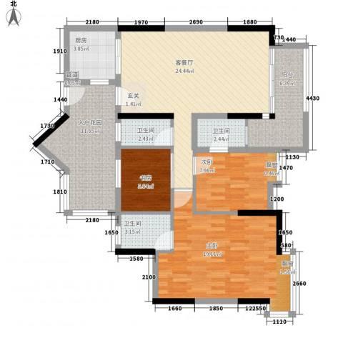 明日华府3室1厅3卫1厨126.00㎡户型图