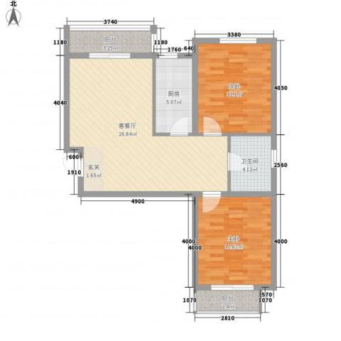 盛秦福第2室1厅1卫1厨65.64㎡户型图