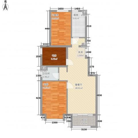 鑫海花园3室1厅1卫1厨101.00㎡户型图