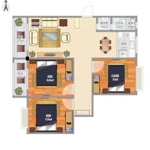 永达时代佳苑3室2厅1卫1厨75.00㎡户型图