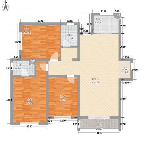 盛秦福第3室1厅2卫1厨127.00㎡户型图