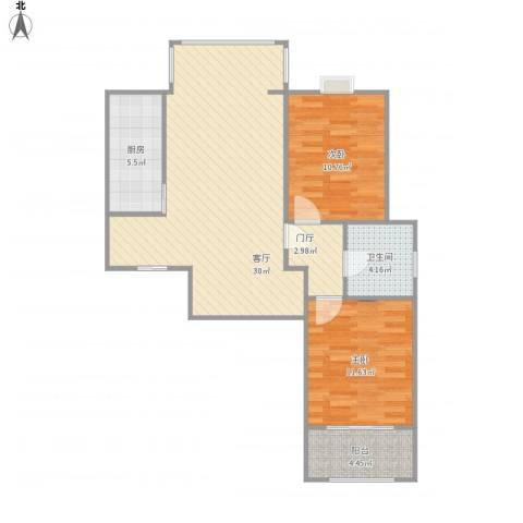 大德世家2室1厅1卫1厨94.00㎡户型图