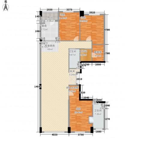 鑫海花园3室1厅2卫1厨211.00㎡户型图