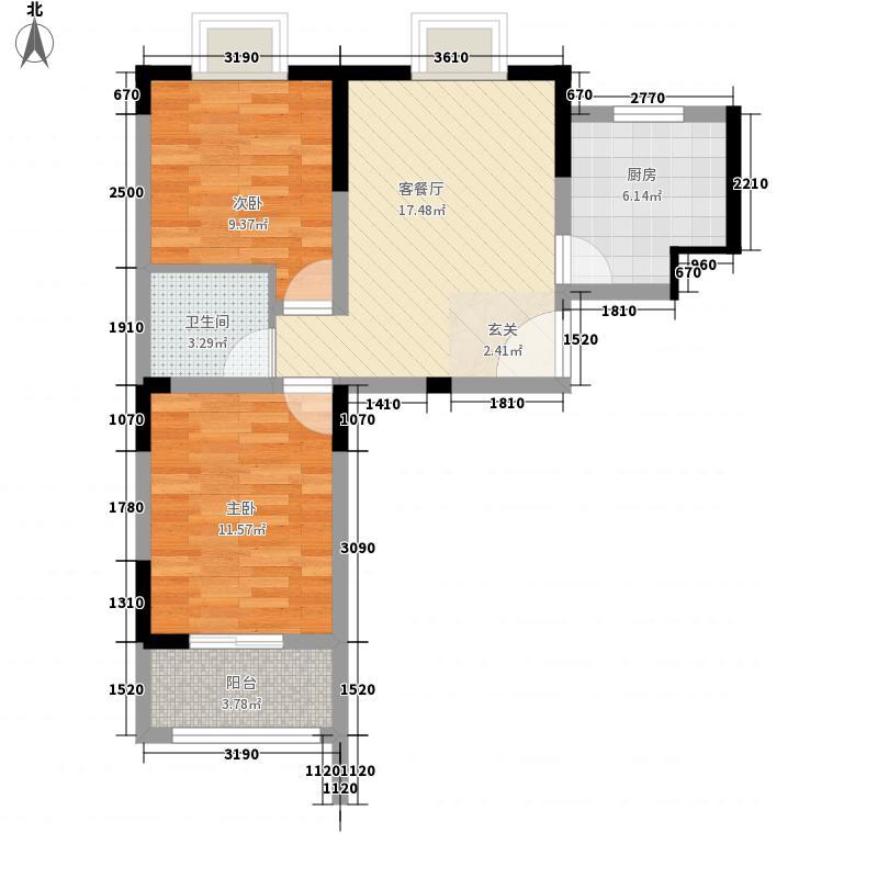 天建天和园75.39㎡天建天和园户型图秋园1#楼B户型2室1厅1卫1厨户型2室1厅1卫1厨