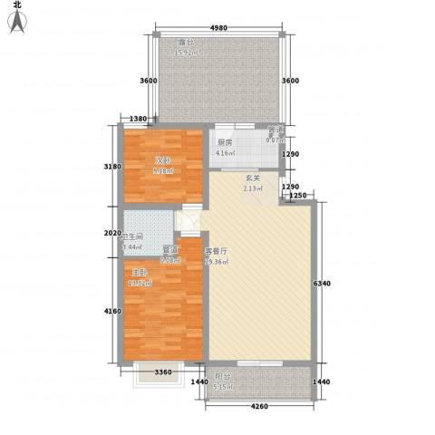 家和苑2室1厅1卫1厨87.00㎡户型图