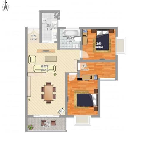 百润・湖滨杰座2室1厅1卫1厨107.00㎡户型图