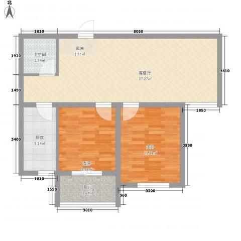 盛秦福第2室1厅1卫1厨84.00㎡户型图