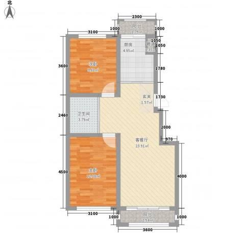 阳光清境2室1厅1卫1厨86.00㎡户型图