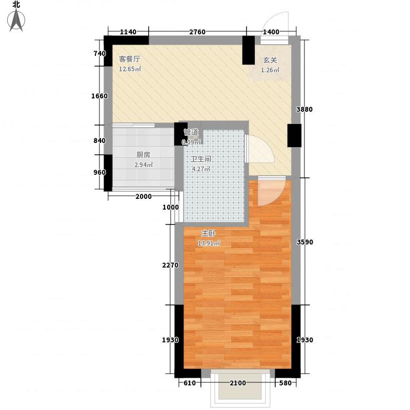 文昌苑1室1厅1卫1厨43.00㎡户型图