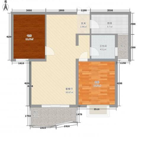 白玉兰家园2室1厅1卫1厨73.08㎡户型图
