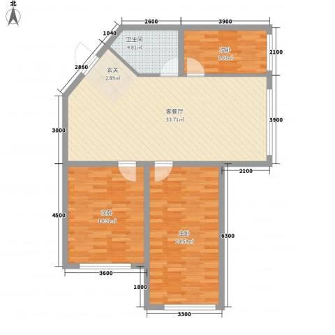 望春桂花苑3室1厅1卫0厨78.40㎡户型图