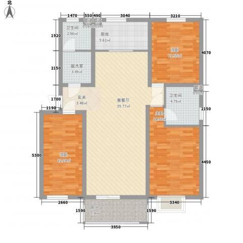 家和苑3室2厅2卫1厨123.00㎡户型图