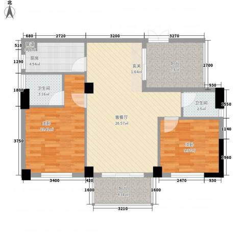 阳光清境2室1厅2卫1厨88.00㎡户型图