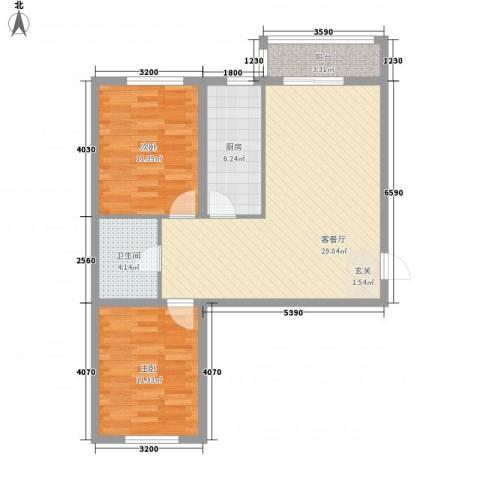盛秦福第2室1厅1卫1厨65.44㎡户型图