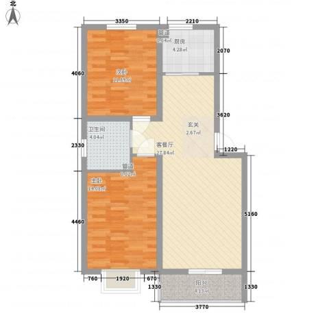 家和苑2室1厅1卫1厨66.31㎡户型图