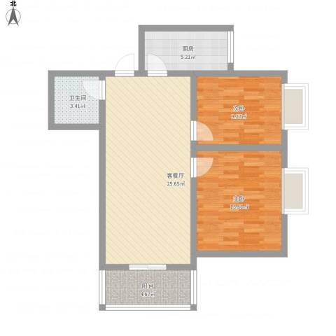 综艺曼哈顿时代2室1厅1卫1厨89.00㎡户型图